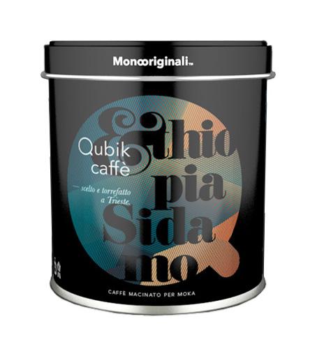 Qubik Caffé Ethiopia Sidamo mletá káva - plechovka 125 g