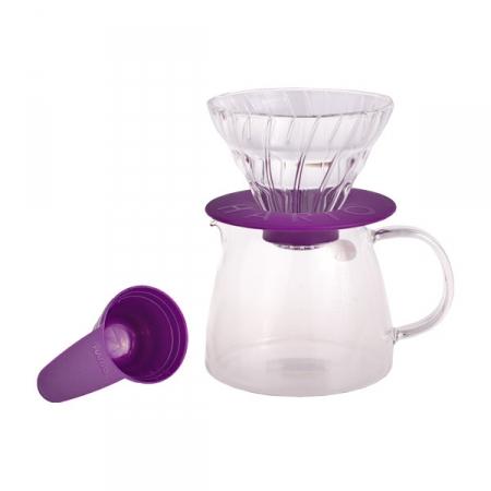Hario Glass Coffee Dripper & Pot Claire - skleněná sada V60-01 fialová