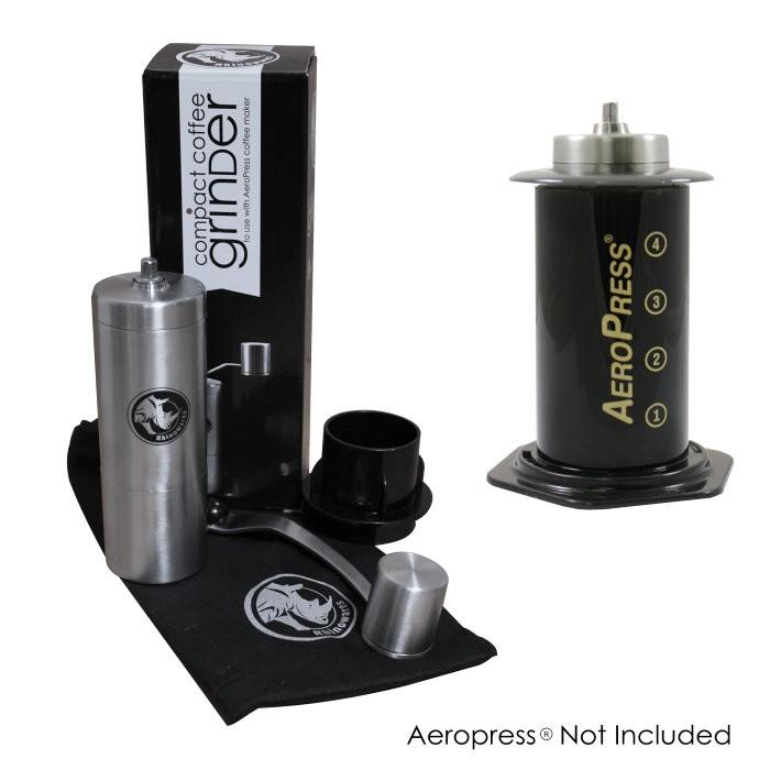 Rhinowares ruční mlýnek na kávu s adaptérem na Aeropress