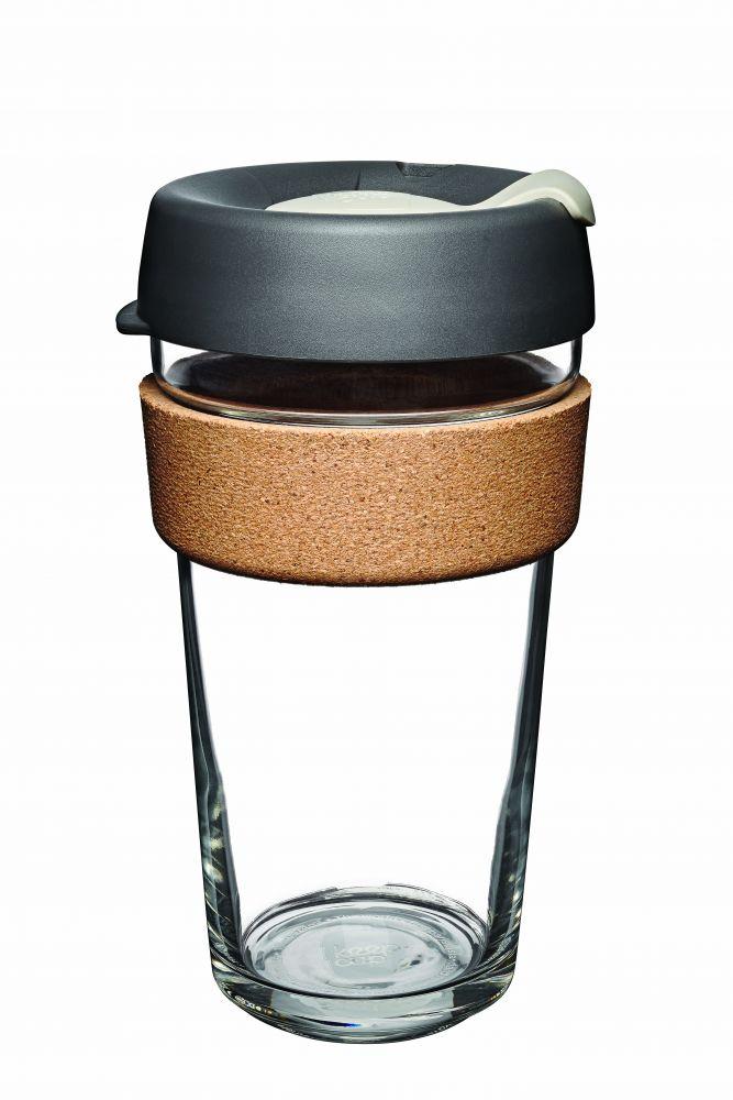 KeepCup Brew Cork Press - skleněný hrnek na kávu 454 ml