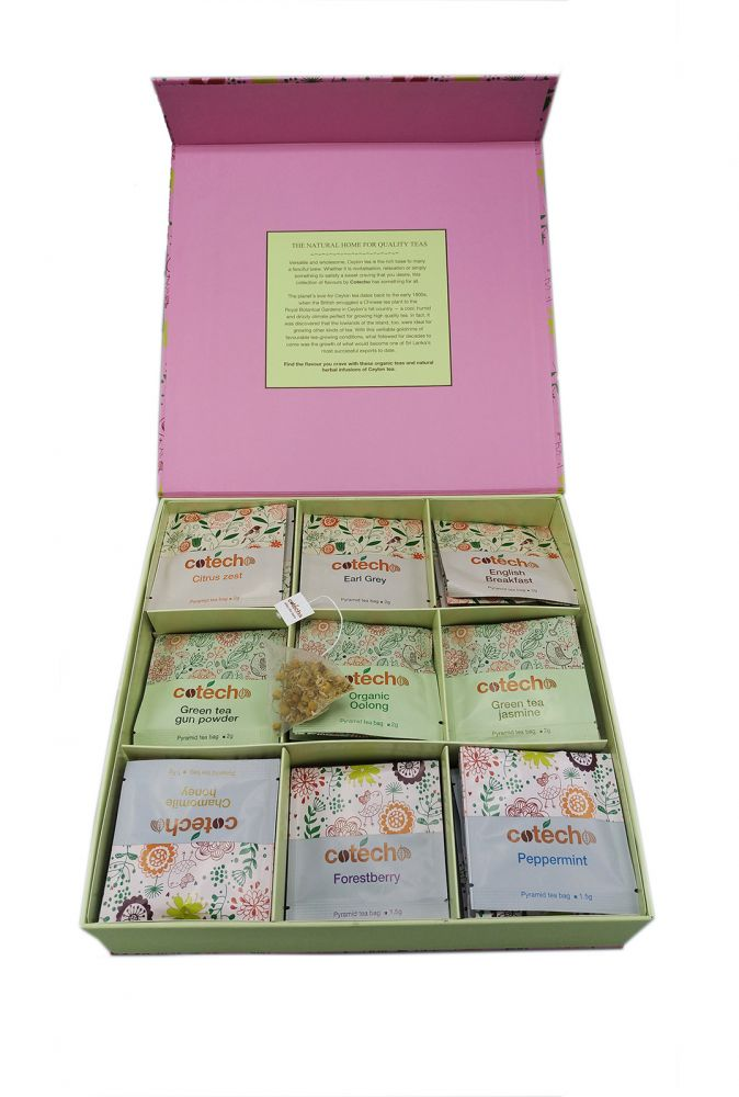 Cotecho Dárkový box čajů - pyramidové sáčky 9 x 10 ks