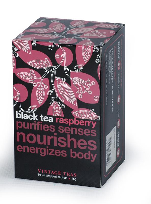 Vintage Teas Černý čaj – Maliny 30x1,5g sáčky