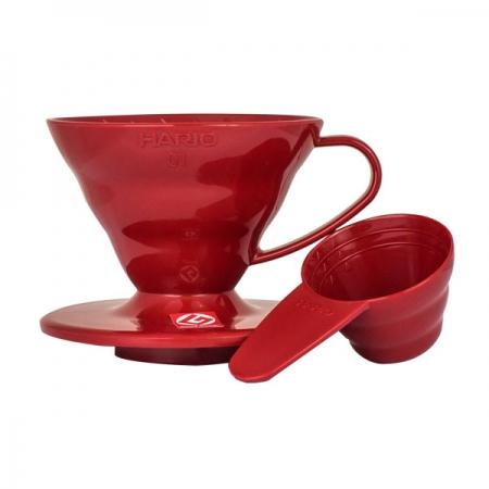 Hario plastový překapávač na kávu V60-01 - červený