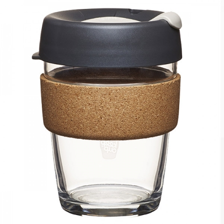 KeepCup Brew Cork Press - skleněný hrnek na kávu 340 ml