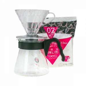 Hario sada V60-02 Pour Over Kit - vše v jednom (dripper + server + filtry)